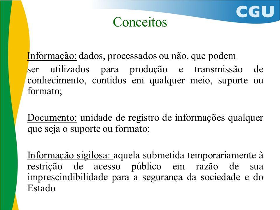 Conceitos Informação: dados, processados ou não, que podem