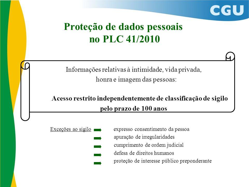 Proteção de dados pessoais no PLC 41/2010