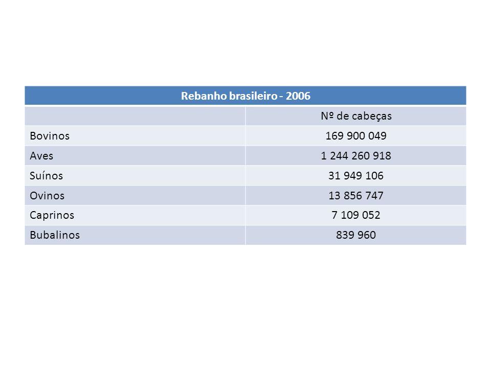 Rebanho brasileiro - 2006 Nº de cabeças. Bovinos. 169 900 049. Aves. 1 244 260 918. Suínos. 31 949 106.