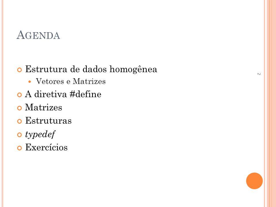 Agenda Estrutura de dados homogênea A diretiva #define Matrizes
