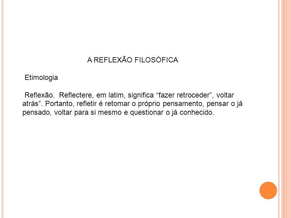A REFLEXÃO FILOSÓFICA Etimologia.