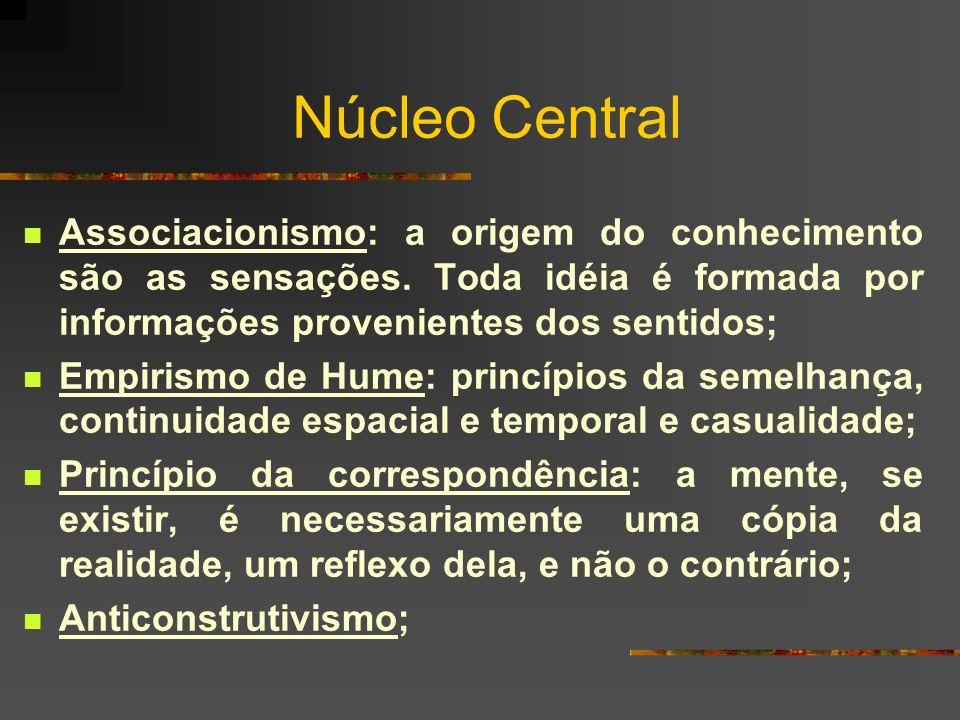 Núcleo Central Associacionismo: a origem do conhecimento são as sensações. Toda idéia é formada por informações provenientes dos sentidos;
