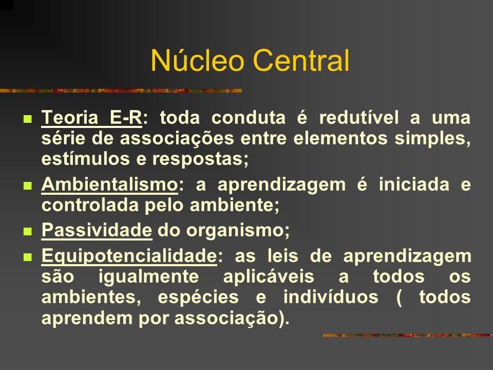 Núcleo Central Teoria E-R: toda conduta é redutível a uma série de associações entre elementos simples, estímulos e respostas;
