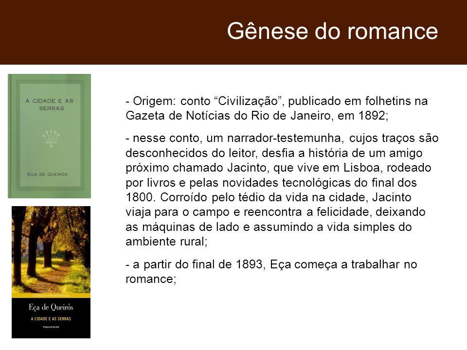 Gênese do romance - Origem: conto Civilização , publicado em folhetins na Gazeta de Notícias do Rio de Janeiro, em 1892;