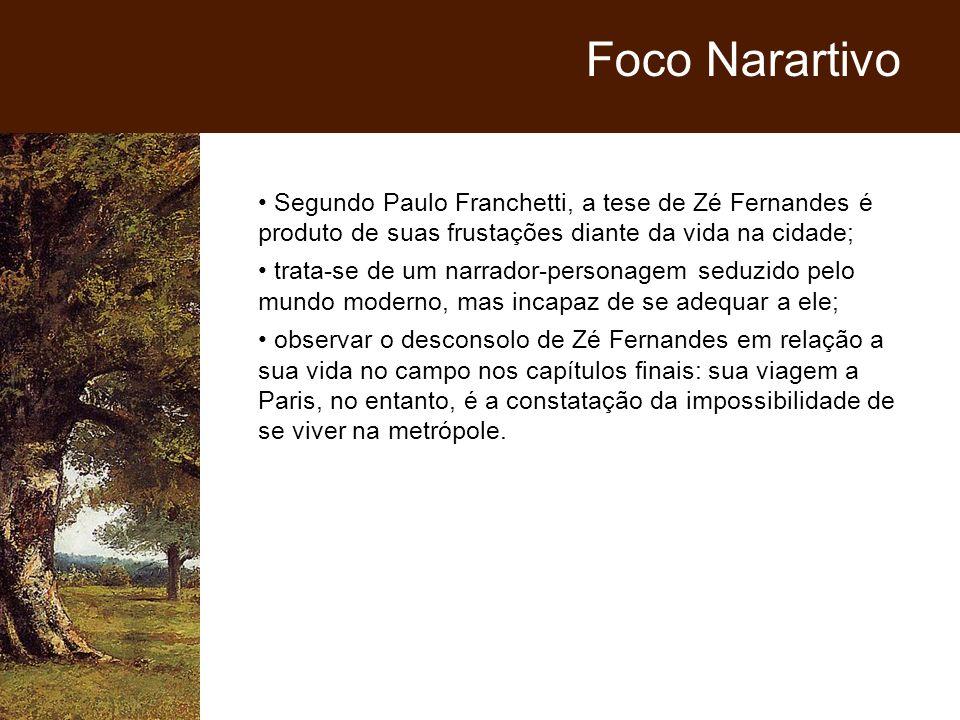 Foco Narartivo Segundo Paulo Franchetti, a tese de Zé Fernandes é produto de suas frustações diante da vida na cidade;