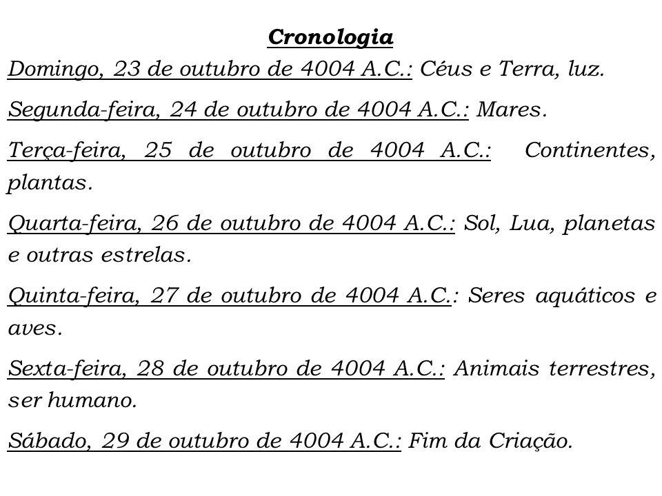 Cronologia Domingo, 23 de outubro de 4004 A.C.: Céus e Terra, luz.