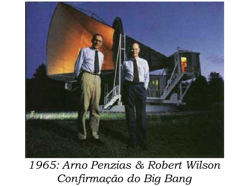 1965: Arno Penzias & Robert Wilson Confirmação do Big Bang