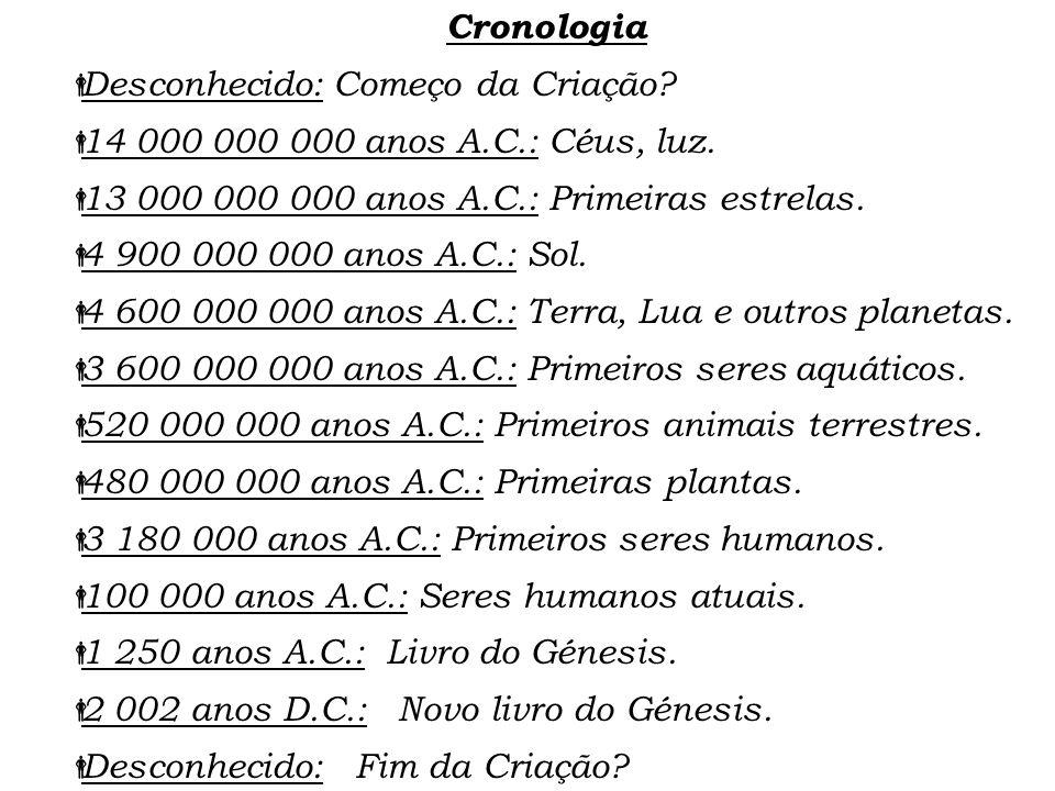 Cronologia Desconhecido: Começo da Criação 14 000 000 000 anos A.C.: Céus, luz. 13 000 000 000 anos A.C.: Primeiras estrelas.