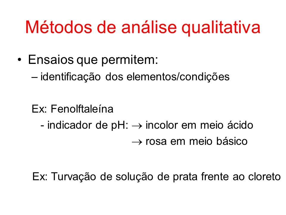 Métodos de análise qualitativa