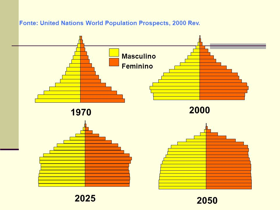 1970 Fonte: United Nations World Population Prospects, 2000 Rev. 2000 Masculino Feminino 2025 2050