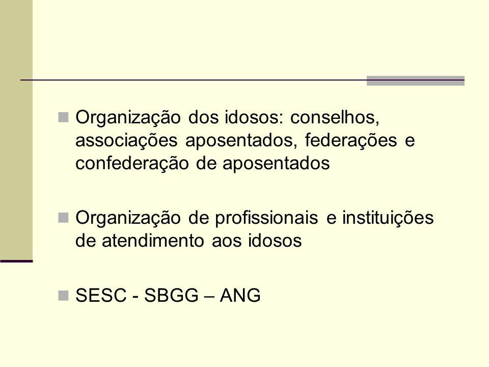 Organização dos idosos: conselhos, associações aposentados, federações e confederação de aposentados