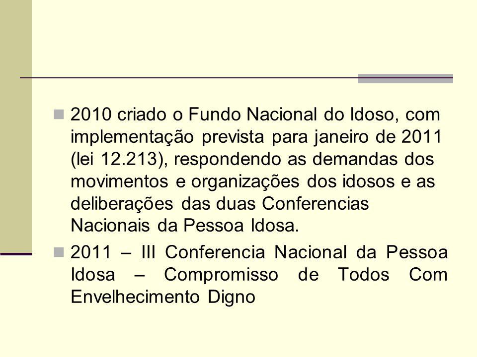 2010 criado o Fundo Nacional do Idoso, com implementação prevista para janeiro de 2011 (lei 12.213), respondendo as demandas dos movimentos e organizações dos idosos e as deliberações das duas Conferencias Nacionais da Pessoa Idosa.