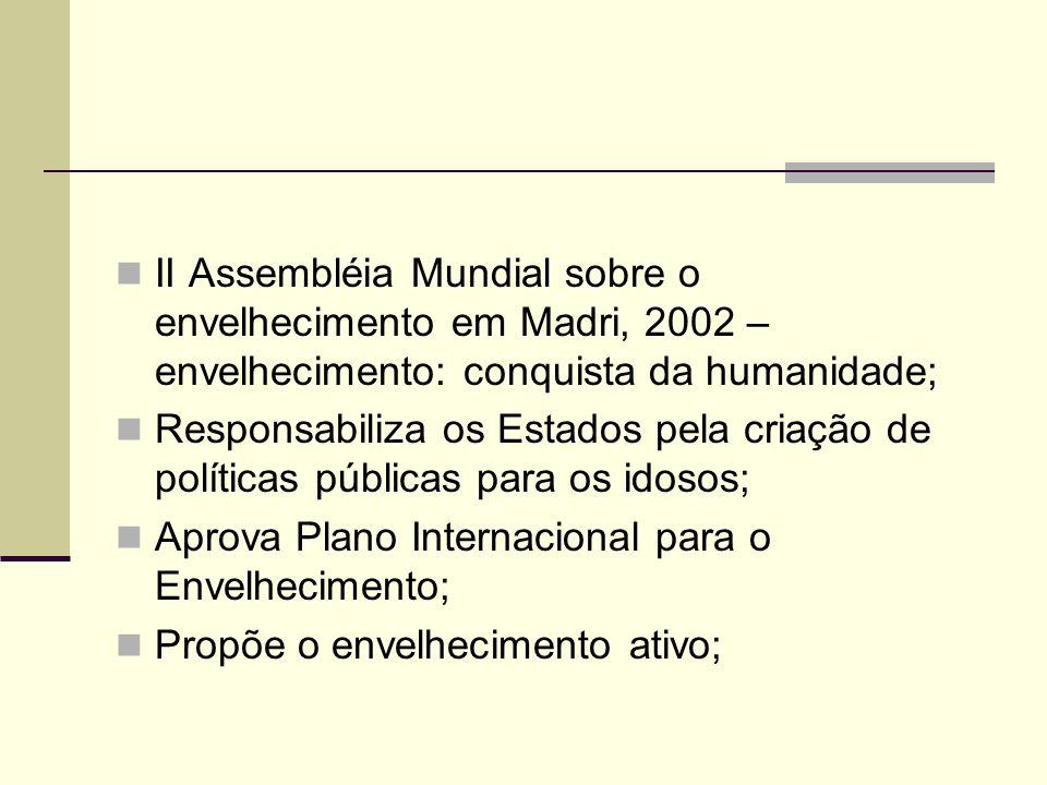 II Assembléia Mundial sobre o envelhecimento em Madri, 2002 – envelhecimento: conquista da humanidade;