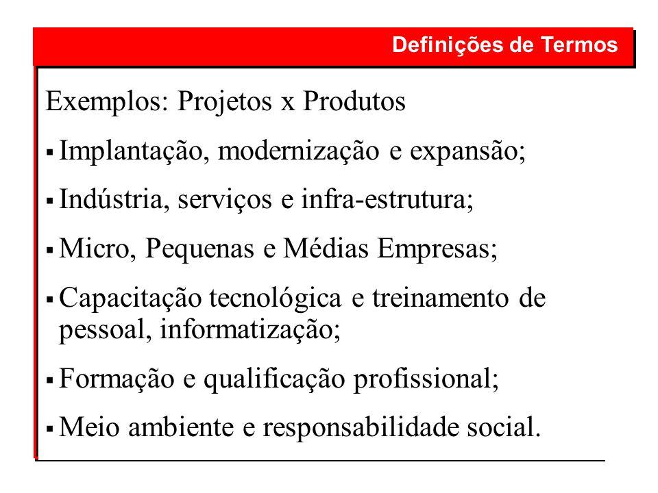 Exemplos: Projetos x Produtos Implantação, modernização e expansão;