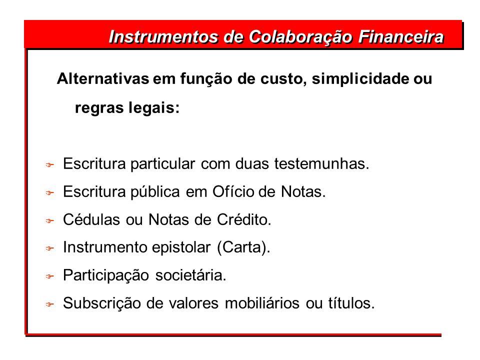 Instrumentos de Colaboração Financeira