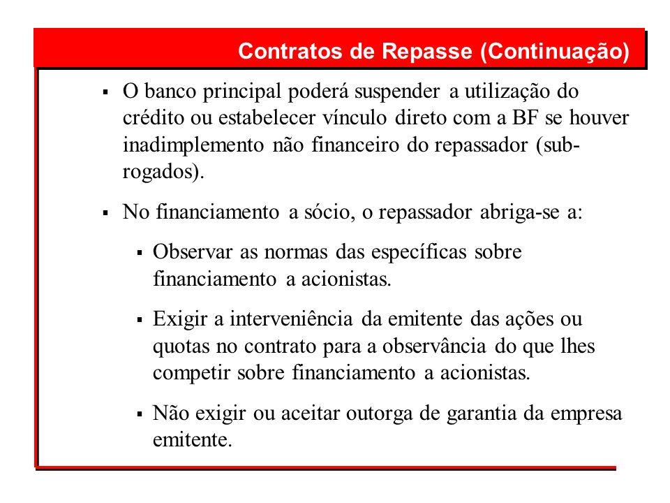 Contratos de Repasse (Continuação)