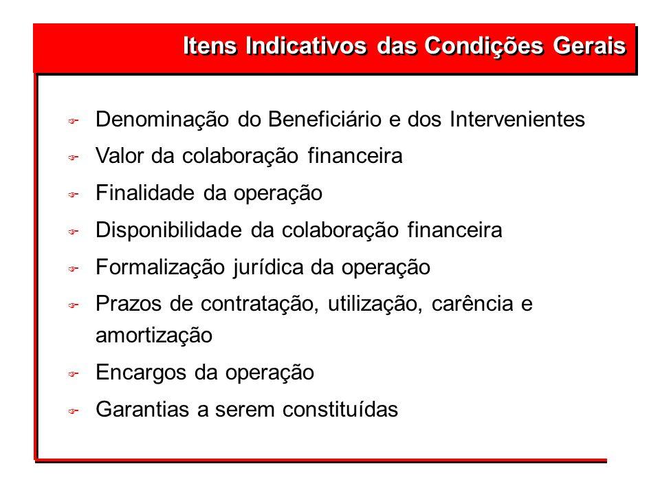 Itens Indicativos das Condições Gerais