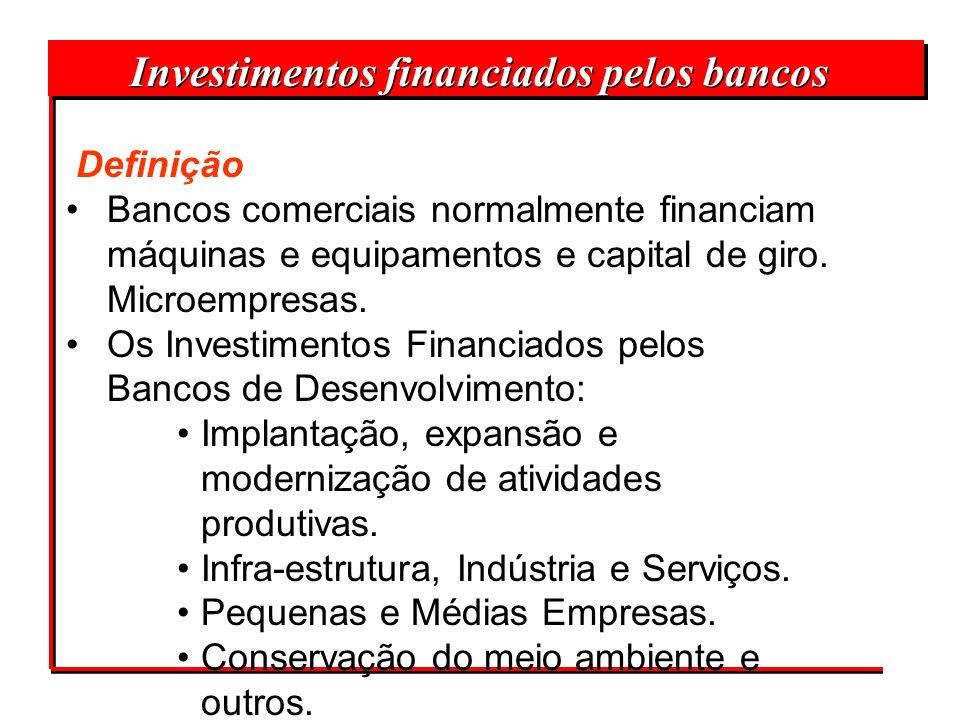 Investimentos financiados pelos bancos