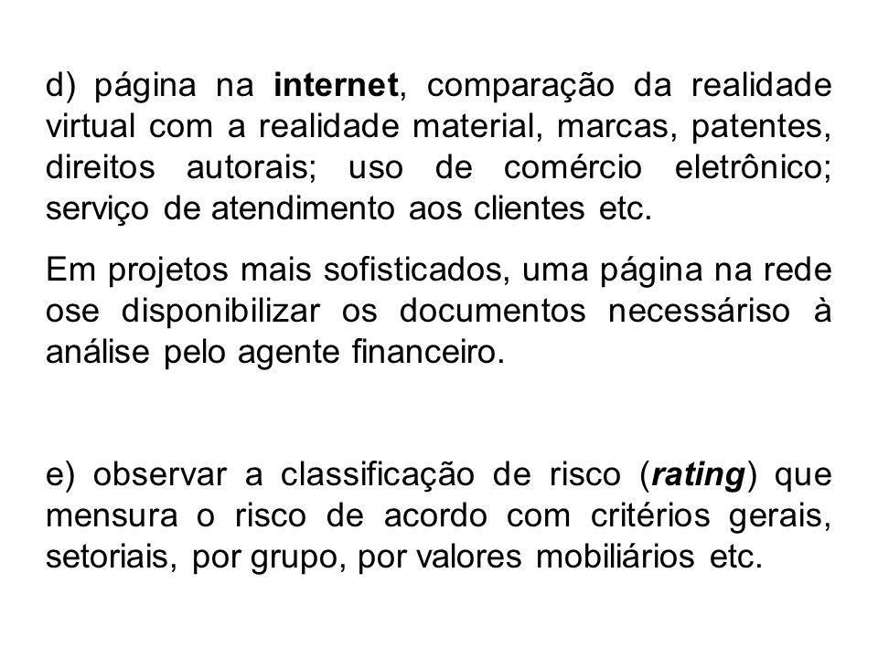 d) página na internet, comparação da realidade virtual com a realidade material, marcas, patentes, direitos autorais; uso de comércio eletrônico; serviço de atendimento aos clientes etc.