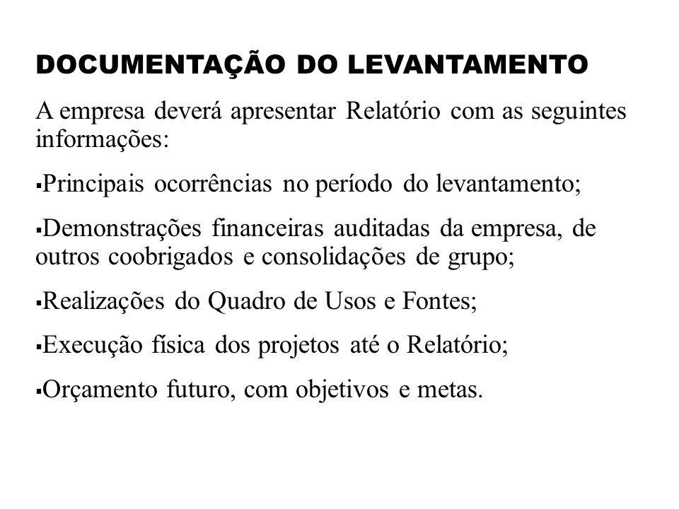 DOCUMENTAÇÃO DO LEVANTAMENTO