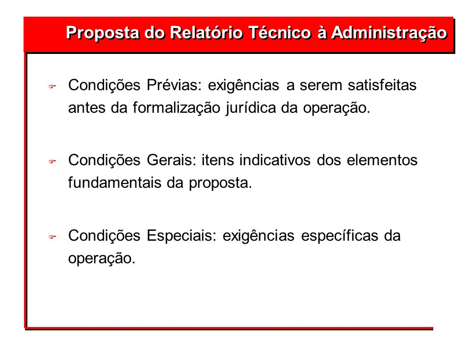 Proposta do Relatório Técnico à Administração