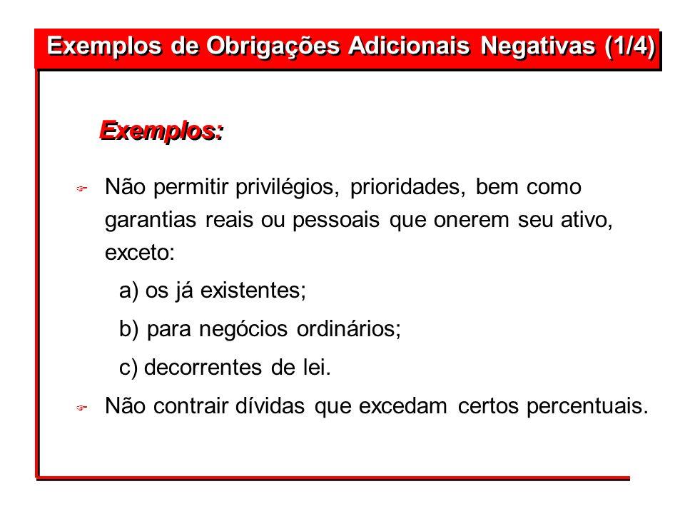 Exemplos de Obrigações Adicionais Negativas (1/4)