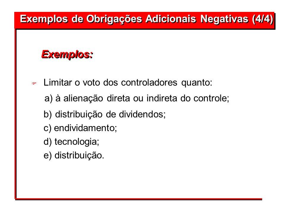 Exemplos de Obrigações Adicionais Negativas (4/4)