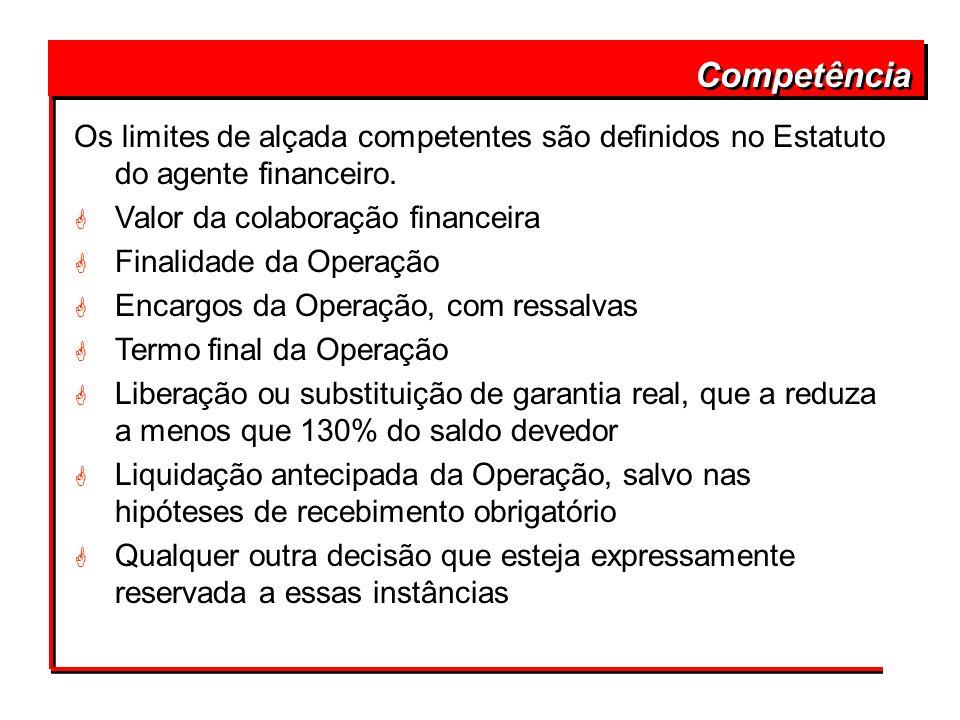 Competência Os limites de alçada competentes são definidos no Estatuto do agente financeiro. Valor da colaboração financeira.