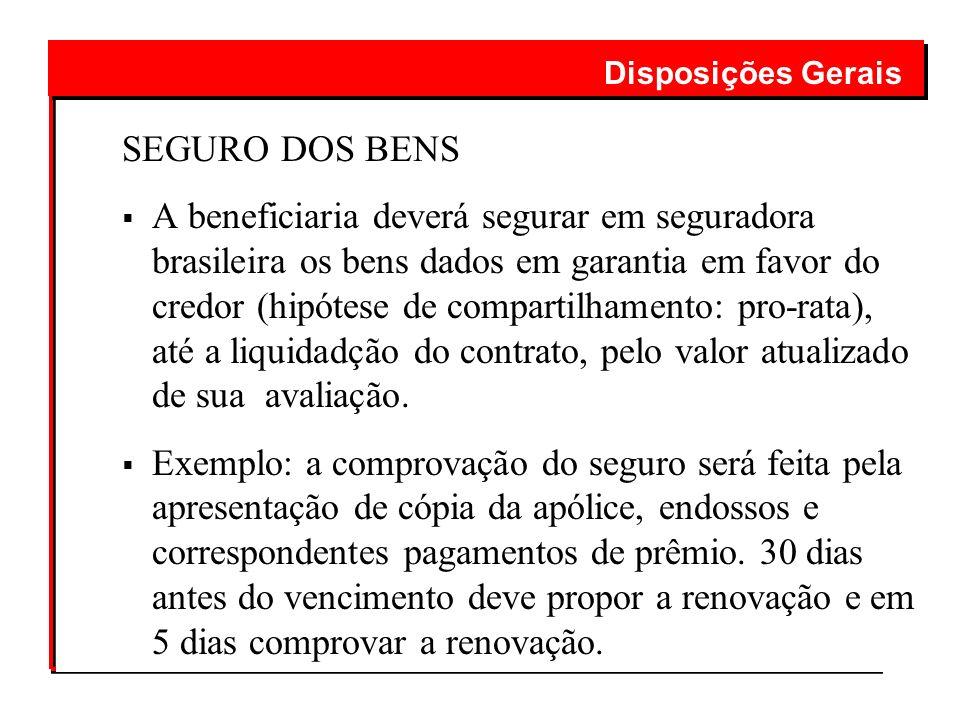 Disposições Gerais SEGURO DOS BENS.