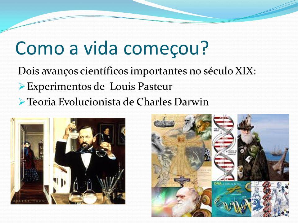 Como a vida começou Dois avanços científicos importantes no século XIX: Experimentos de Louis Pasteur.