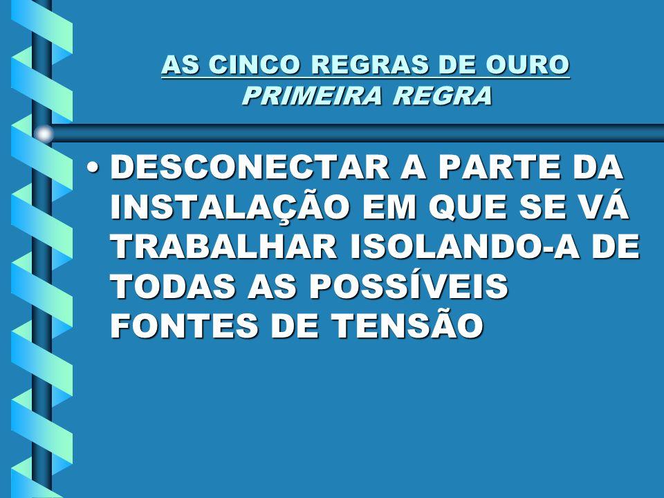 AS CINCO REGRAS DE OURO PRIMEIRA REGRA