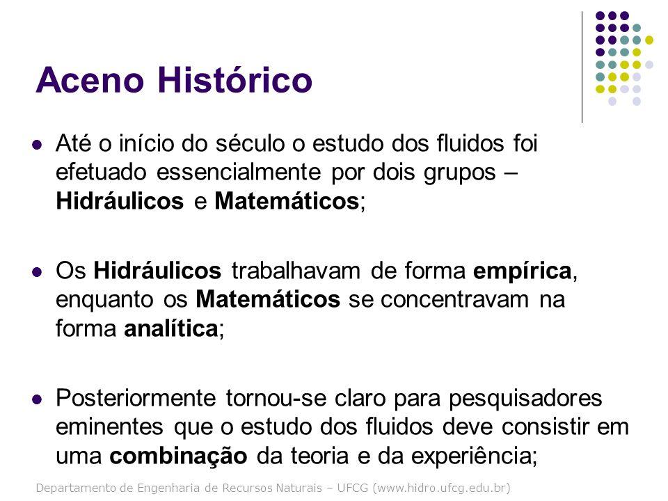 Aceno Histórico Até o início do século o estudo dos fluidos foi efetuado essencialmente por dois grupos – Hidráulicos e Matemáticos;
