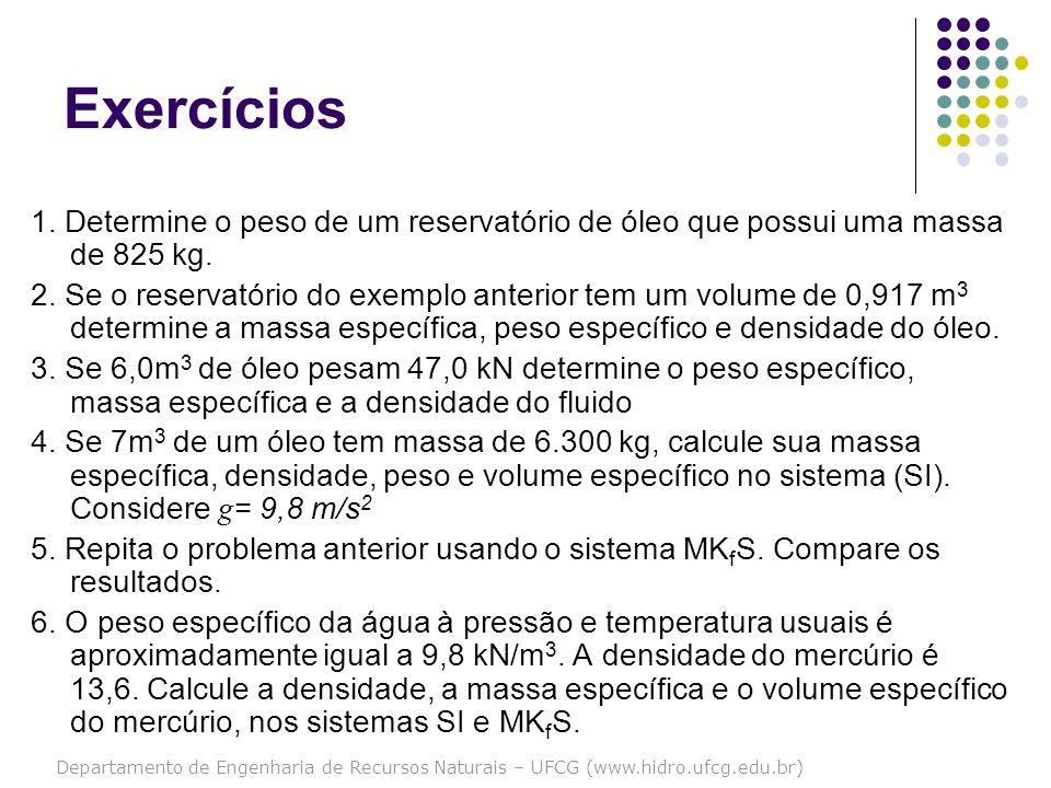 Exercícios 1. Determine o peso de um reservatório de óleo que possui uma massa de 825 kg.