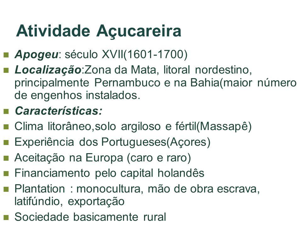 Atividade Açucareira Apogeu: século XVII(1601-1700)