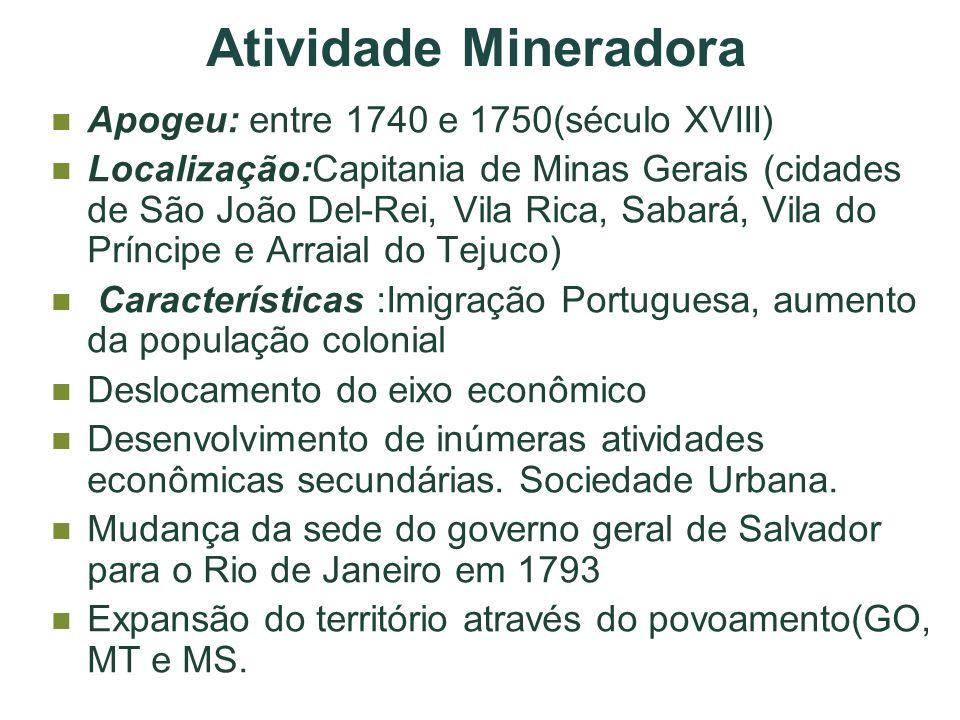 Atividade Mineradora Apogeu: entre 1740 e 1750(século XVIII)