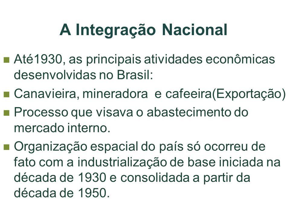 A Integração Nacional Até1930, as principais atividades econômicas desenvolvidas no Brasil: Canavieira, mineradora e cafeeira(Exportação)