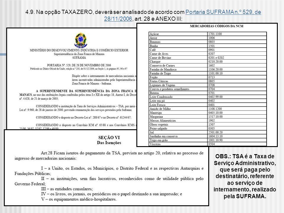 4.9. Na opção TAXA ZERO, deverá ser analisado de acordo com Portaria SUFRAMA n.º 529, de 28/11/2006, art. 28 e ANEXO III: