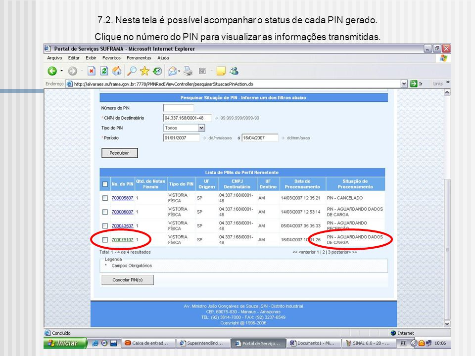 7.2. Nesta tela é possível acompanhar o status de cada PIN gerado.