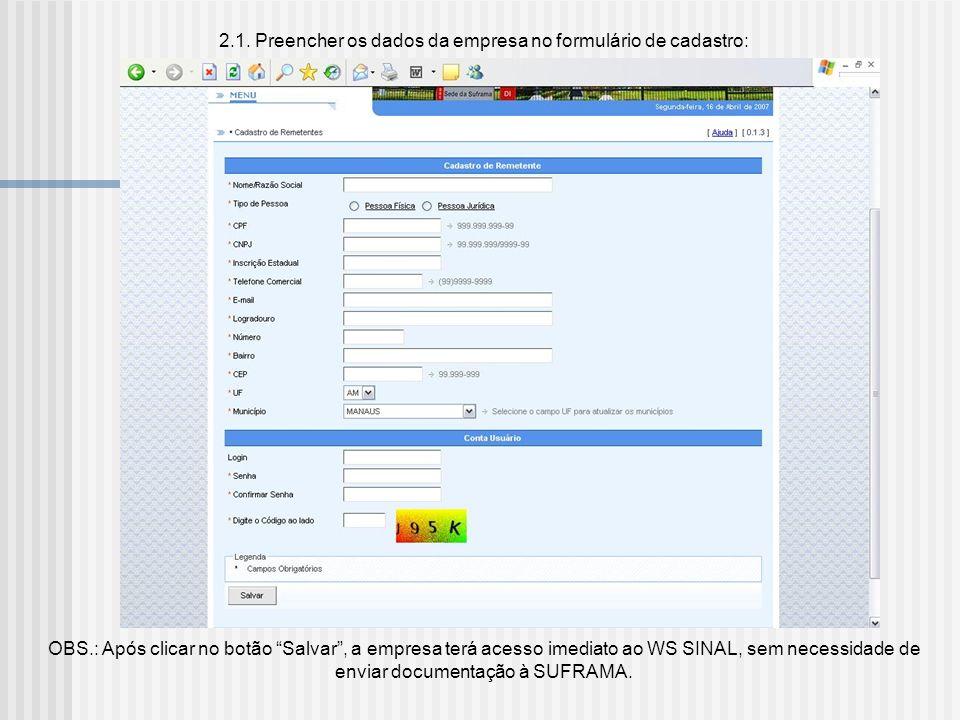 2.1. Preencher os dados da empresa no formulário de cadastro: