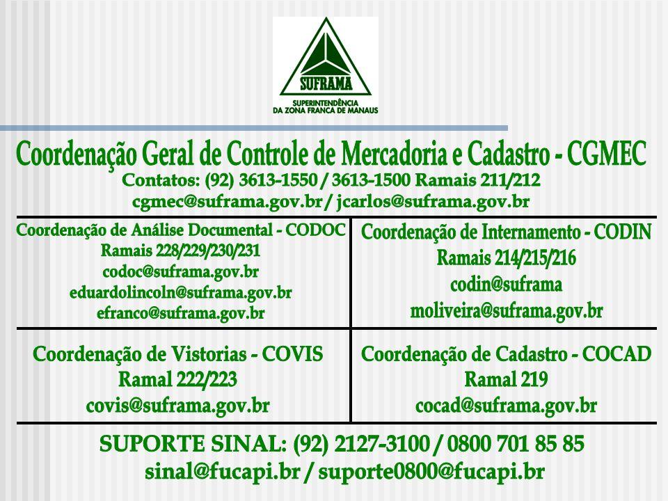 Coordenação Geral de Controle de Mercadoria e Cadastro - CGMEC