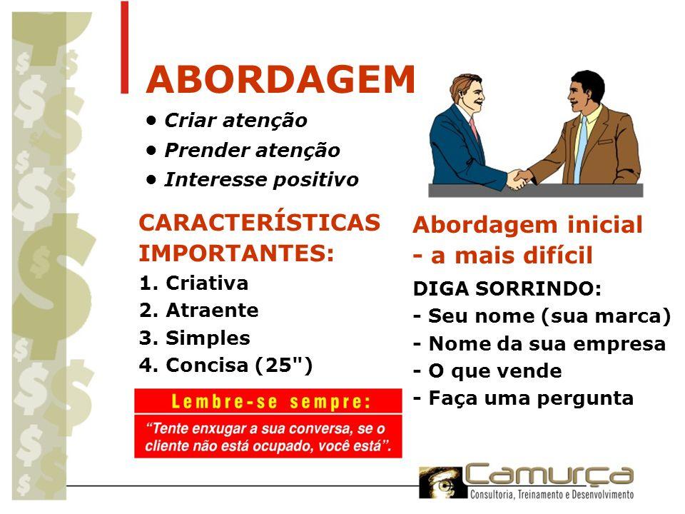 ABORDAGEM CARACTERÍSTICAS Abordagem inicial IMPORTANTES: