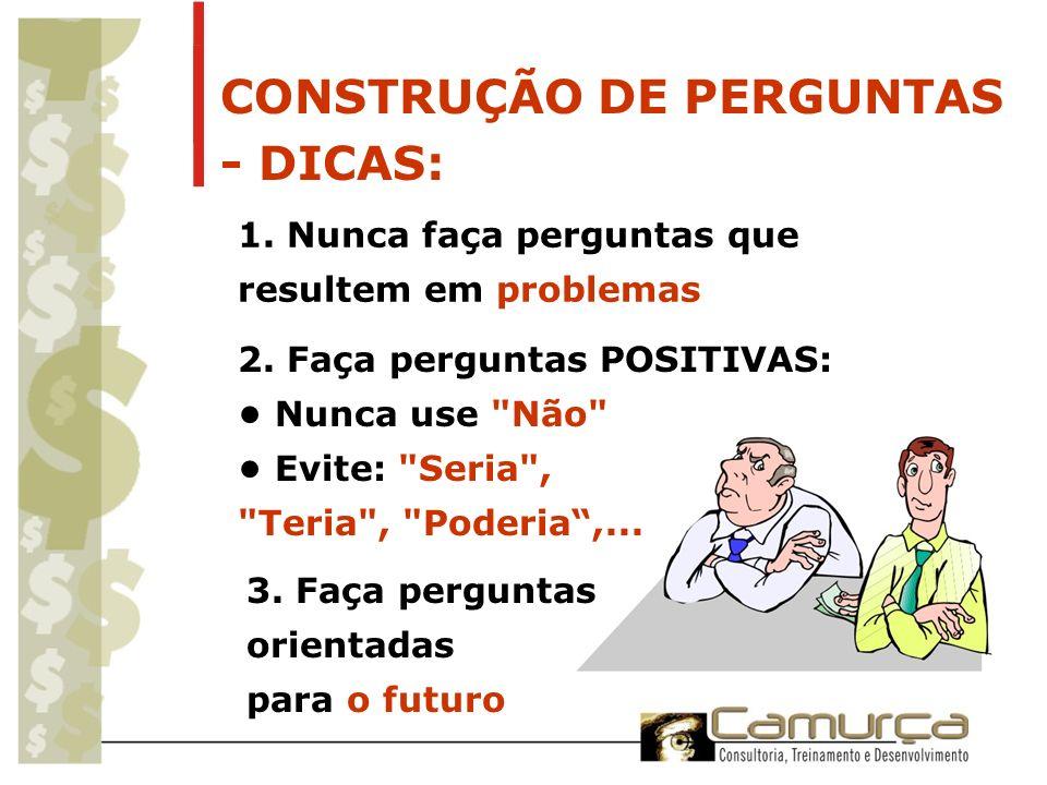 CONSTRUÇÃO DE PERGUNTAS - DICAS: