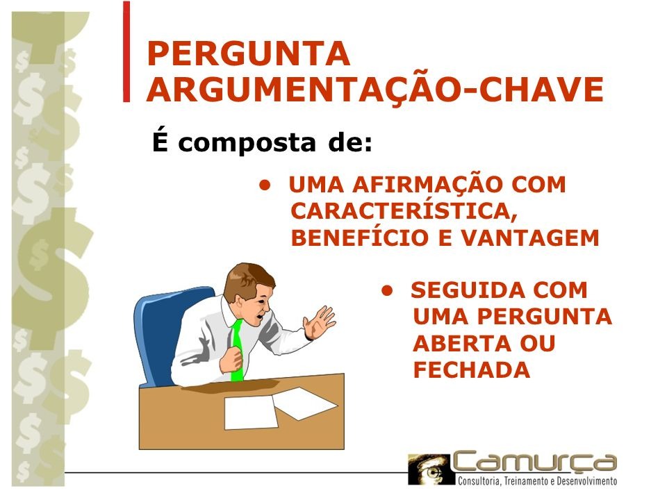 PERGUNTA ARGUMENTAÇÃO-CHAVE É composta de: