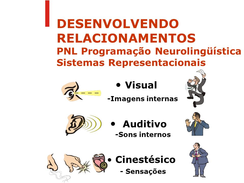 DESENVOLVENDO RELACIONAMENTOS PNL Programação Neurolingüística Sistemas Representacionais