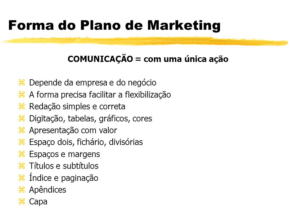 Forma do Plano de Marketing