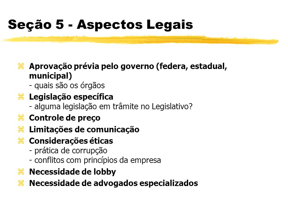 Seção 5 - Aspectos Legais