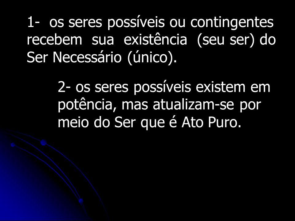 1- os seres possíveis ou contingentes
