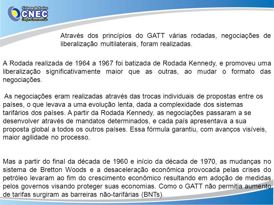 Através dos princípios do GATT várias rodadas, negociações de liberalização multilaterais, foram realizadas.