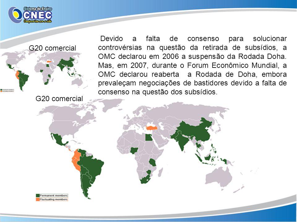 Devido a falta de consenso para solucionar controvérsias na questão da retirada de subsídios, a OMC declarou em 2006 a suspensão da Rodada Doha. Mas, em 2007, durante o Forum Econômico Mundial, a OMC declarou reaberta a Rodada de Doha, embora prevaleçam negociações de bastidores devido a falta de consenso na questão dos subsídios.