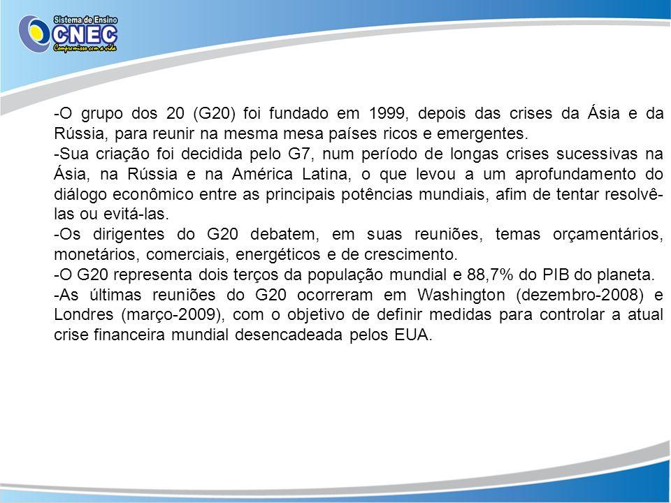O grupo dos 20 (G20) foi fundado em 1999, depois das crises da Ásia e da Rússia, para reunir na mesma mesa países ricos e emergentes.